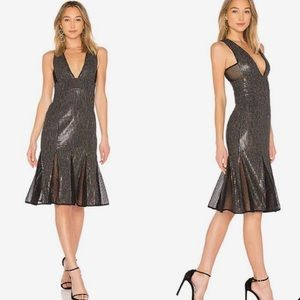 X by NBD Cheryl Temple Rainbow Sequin party dress